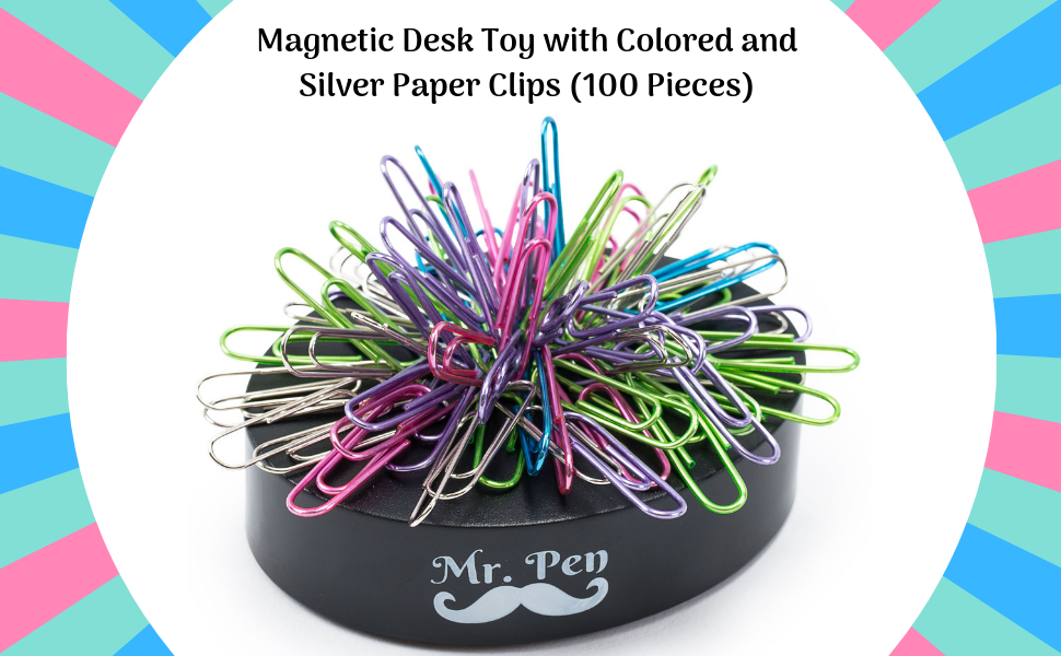 Magnetic Desk Toy with Colorful Paper Clips Paper Clip Dispenser. Securely Hold Paperclips 200pcs Square Base Desk Toys Magnetic Paper Clip Holder