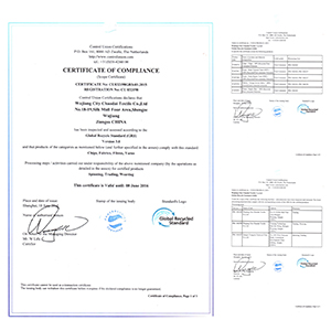 Recycle fabric certificate