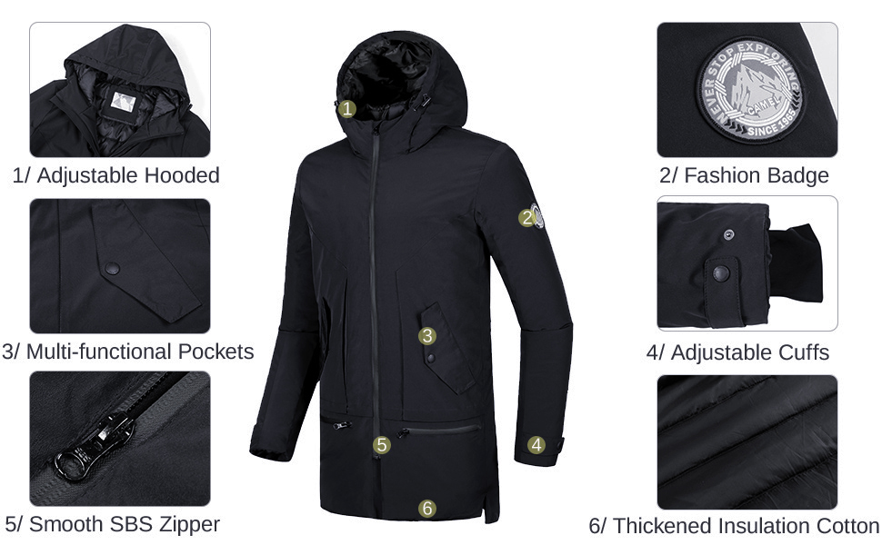 CAMELSPORTS Mens Jackets Winter Parka Windproof Insulated Coats Black Outerwear Warm Casual Hooded Jacket Coats