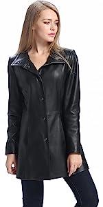 BGSD Women's Jocelyn Lambskin Leather Car Coat