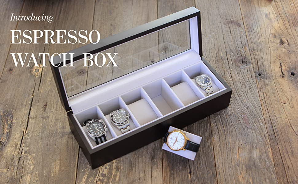 espresso finish watch box solid wood construction 6 slot real glass display