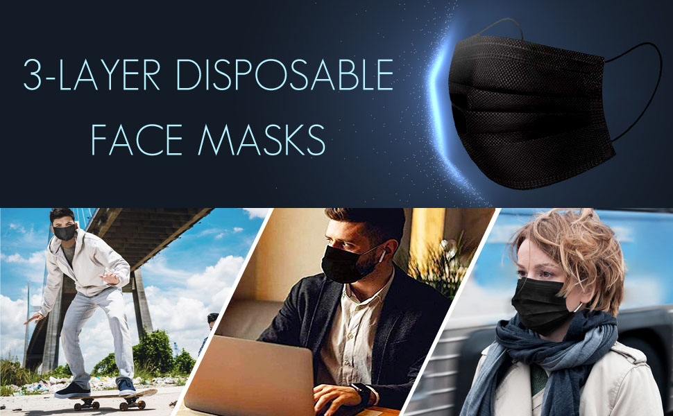 50Pcs 3-Ply Disposable Face Mask Breathable Dust Mask with Elastic Earloop Safety Face Masks