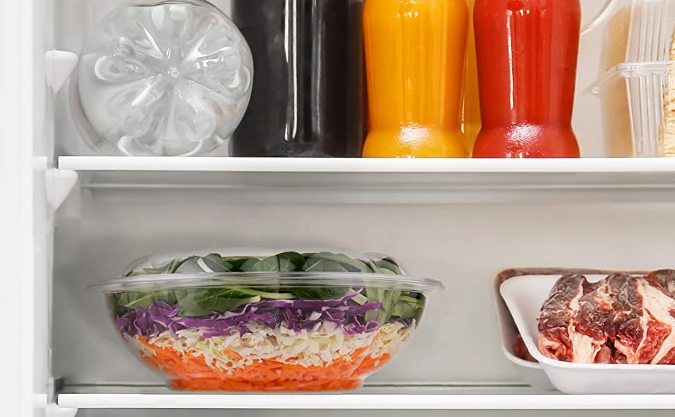 Plastic Salad Bowls with Lids (10 Count) 64 oz. Disposable Serving Bowls - Plastic Serving Bowls