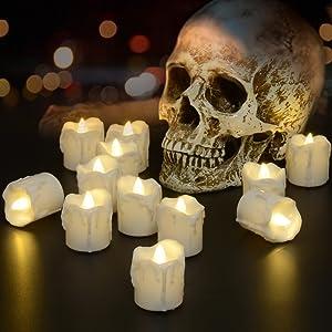 PChero Halloween Decor Timer LED Tea Light Candle