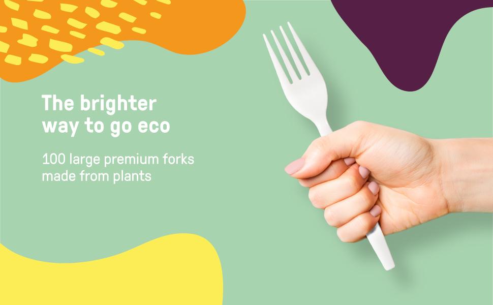 """EQO WARE 100 Compostable Forks 100% Biodegradable Disposable Forks 7"""" Plastic Utensils"""
