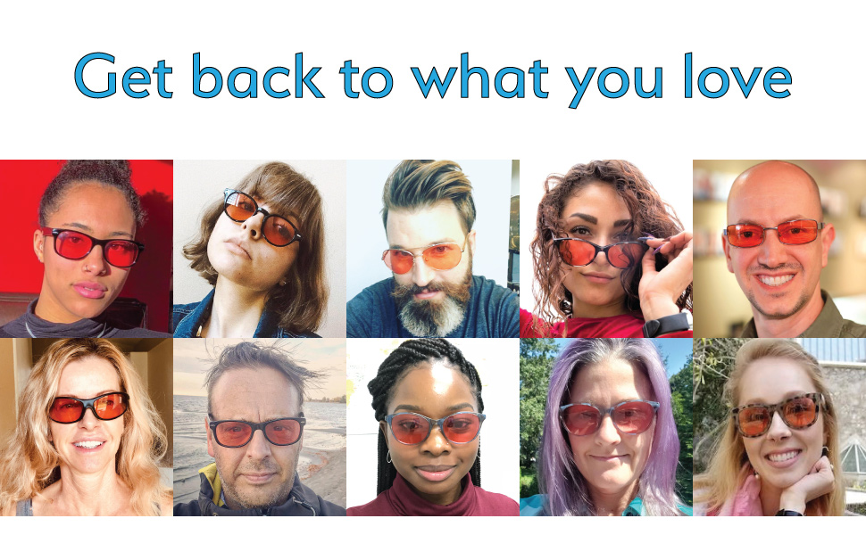 Get back to what you love with TheraSpecs glasses. Photos of happy TheraSpecs Customers