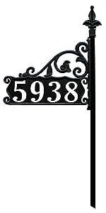 Boardwalk 30 inch short reflective home address sign with deco font 911 address number sign