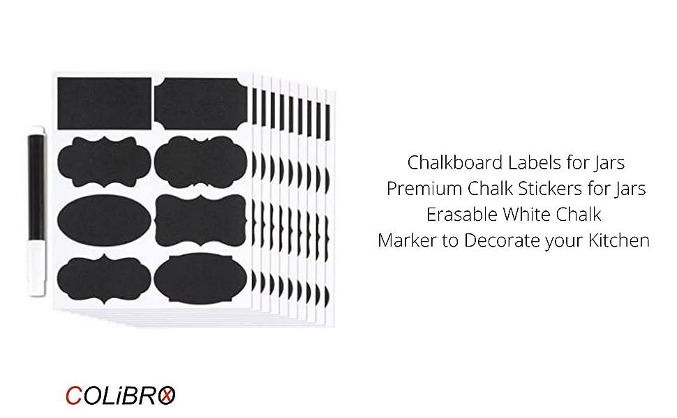 LECMARK 36pcs Chalkboard Labels Fancy BlackBoard Kitchen Jam Jar Labels Stickers with Erasable White Chalk Marker to Decorate your Kitchen Pantry Storage /& Office