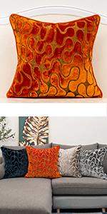 orange velvet throw pillow cover