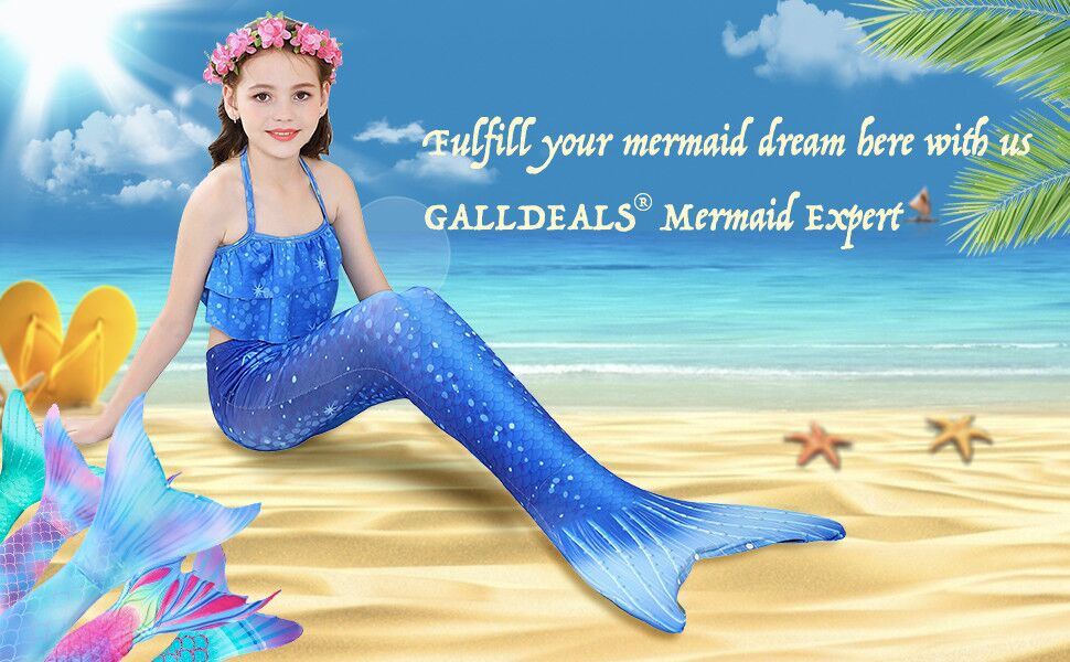 Amazon.com: GALLDEALS Mermaid Tail for Swimming Kids Girls