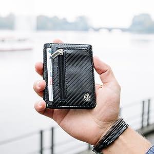 Mens PU Wallet Kontaktlose Kartenblockierung ID-Schutz 13,0 3,0 cm 9,5