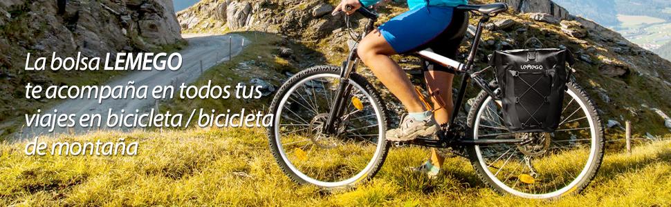 LEMEGO Bolsa Alforja Trasera para Bicicleta 27L, Grande Bolsa ...