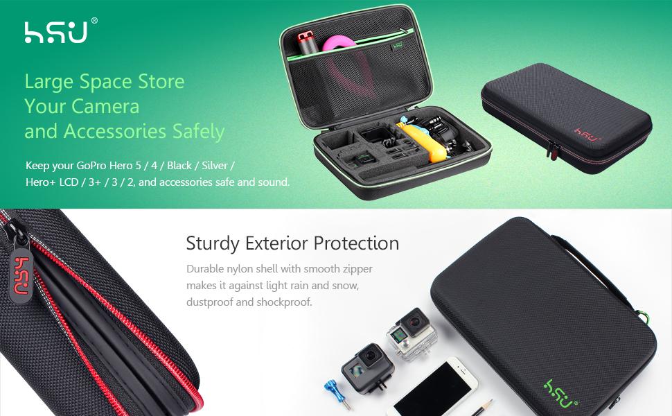 Large Carrying Case for GoPro Hero(2018), Hero 8, 7 Black,HERO6,5,4, LCD, Black, 3+, 3, 2