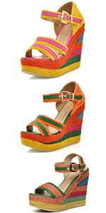 colourful Espadrille Wedges Sandal Shoes