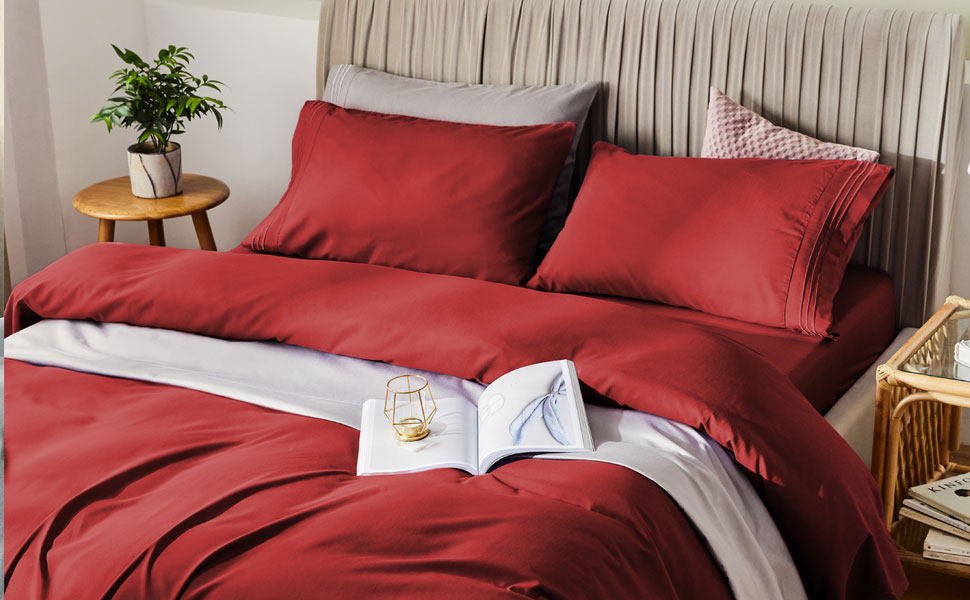 red bamboo sheets