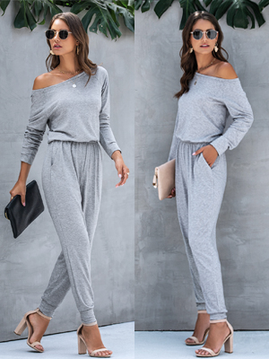 Casual Long Sleeve Jumpsuit Crewneck One Off Shoulder Elastic Waist Stretchy Romper with Pockets