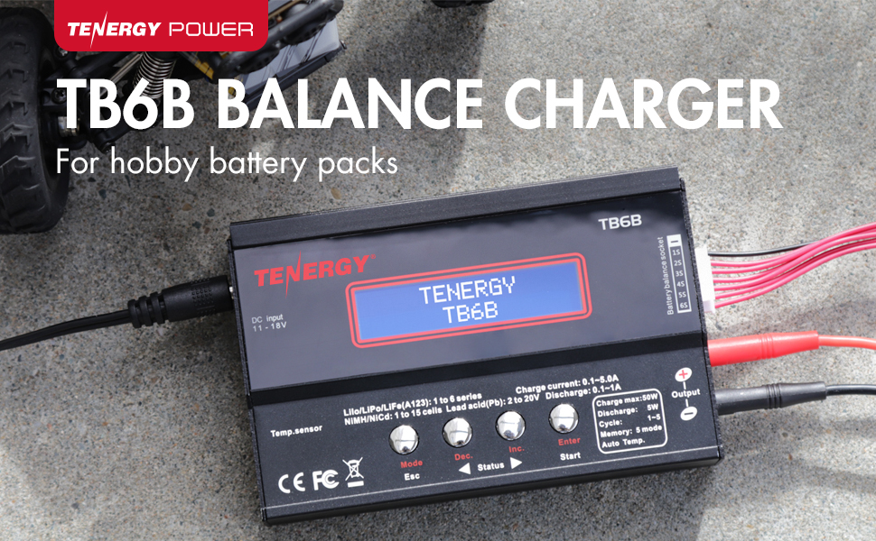 Amazon Com Tenergy Tb6 B Balance Charger Discharger 1s 6s Digital Battery Pack Charger For Nimh Nicd Li Po Li Fe Packs Lcd Hobby Battery Charger W Tamiya Jst Ec3 Hitec Deans Connectors Power Supply 01435 Toys Games