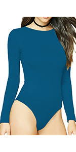 MANGDIUP Women's Round Collar Long Sleeve Elastic Bodysuit (Blue1)