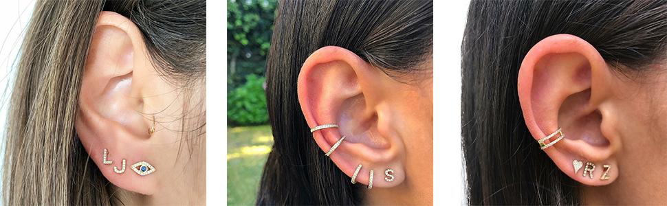initial stud earring