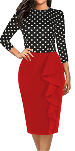 Women's Chic Sheath Work Dress Knee-Length Solid Cotton Casual Party Pencil Dresses