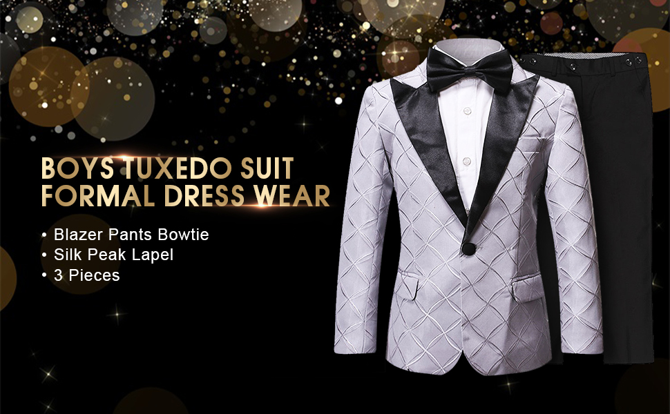 Boys Tuxedo Suit Formal Dresswear Silk Peak Lapel 3 Pieces Blazer Pants Bowtie