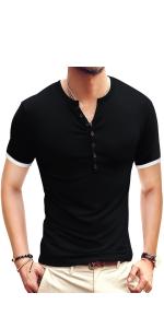 YTD Mens Casual Slim Fit Basic Henley Short Sleeve Fashion Summer T-Shirt