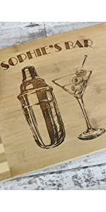 Engraved bamboo cutting board with martini shaker and glas for gift misc. fun themes section