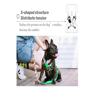 X-shaped structure Distribute tension.Reduce the pressure on the dog's trachea,increase the comfort
