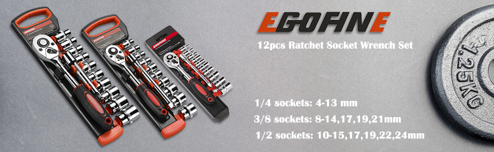 Egofine 12pcs Ratchet Socket Wrench Set, Drive Socket Set