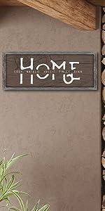 Home Family Name Print Woodgrain Framed Canvas