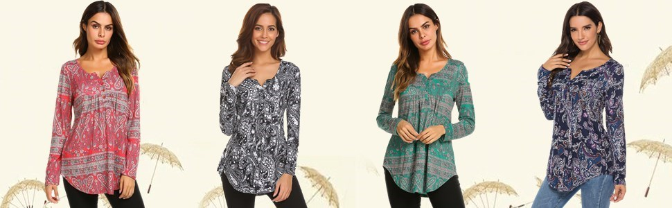 tunic tops for leggings for women long sleeve casual t shirt v-neck pleated dressy tunic blouses top