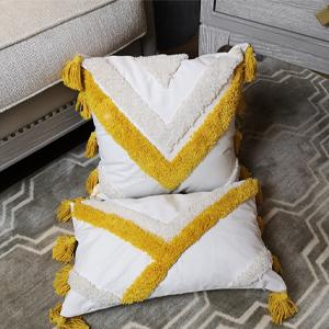 tufted decorative pillow cover tassel yellow beige tribal morocco boho bohemian cream white ivory