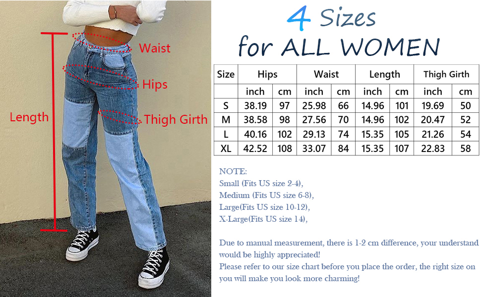 Women Patchwork Jeans High Waisted Straight Leg Stretch Denim Pants Girls Fashion Color Block Patch