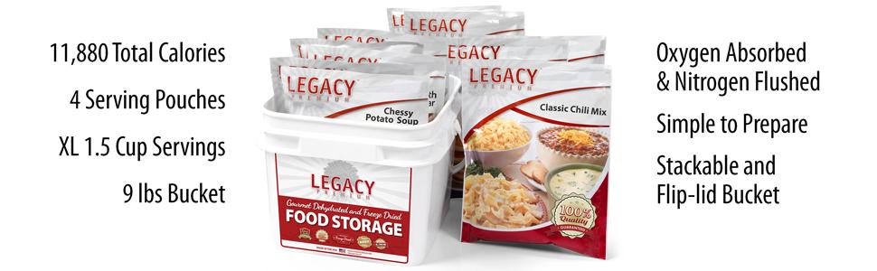 Legacy Food Storage 32 Serving Entree Food Storage Bucket Features