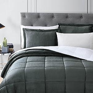 Micromink sherpa down alternative comforter set, gray