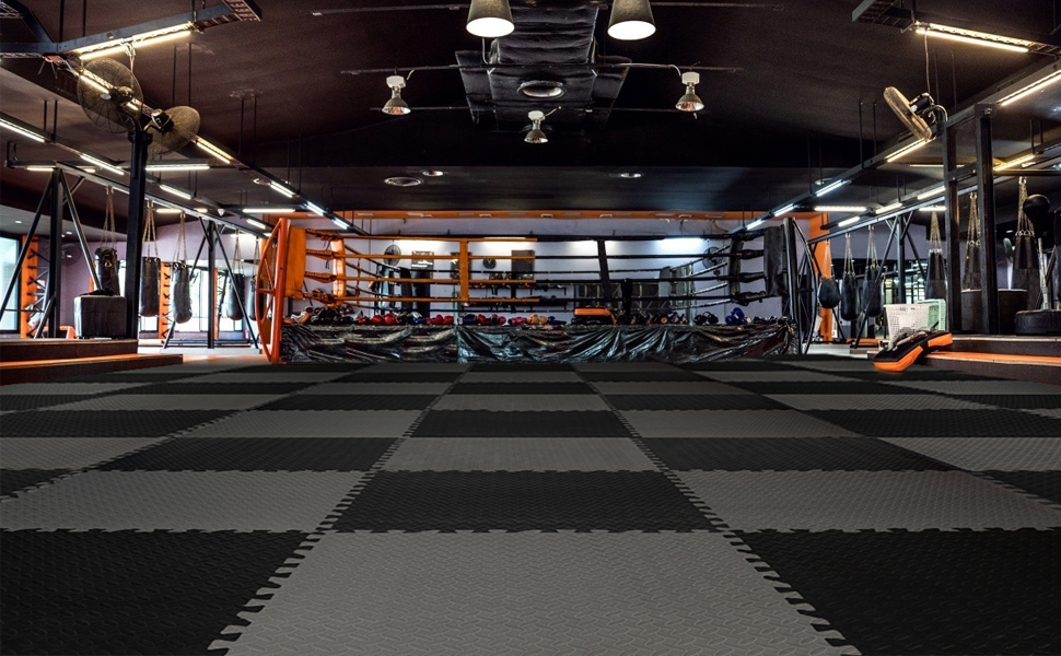 gym foam mat , black and gray