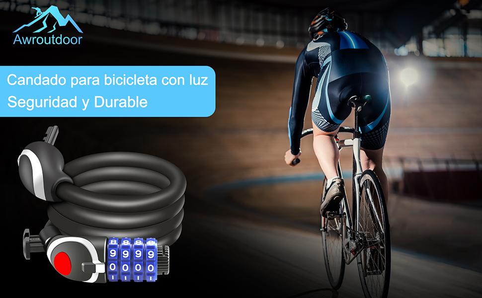 Awroutdoor Candado de Bicicleta Seguridad Candado de Cable Mejor ...
