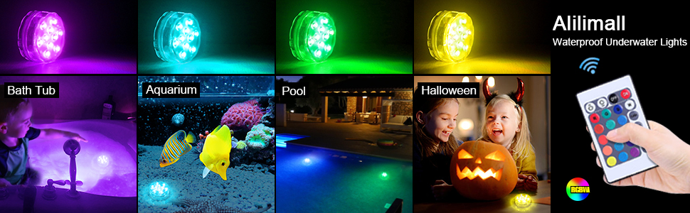Alilimall Submersible LED Lights, RGB Color Changing 10-LED ...