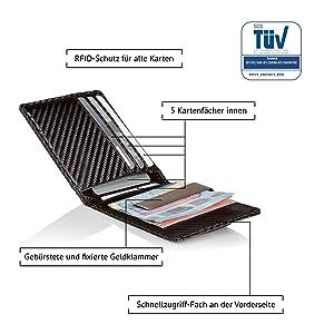 Portemonnaie mit Klammer mini-geldbörse kleines kartenetui thin-wallet carbon wallet geldclip