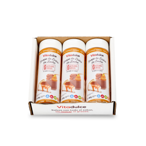 Sirope de dulce de leche sin azúcar, Topping de dulce de leche, Sirope bajo en calorías 400 gr. Pack de 3 unidades - Vitadulce