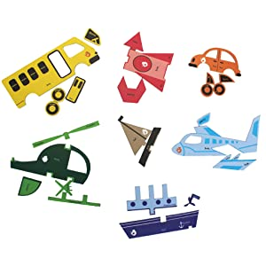 Magnetic shape puzzles on various modes of transport
