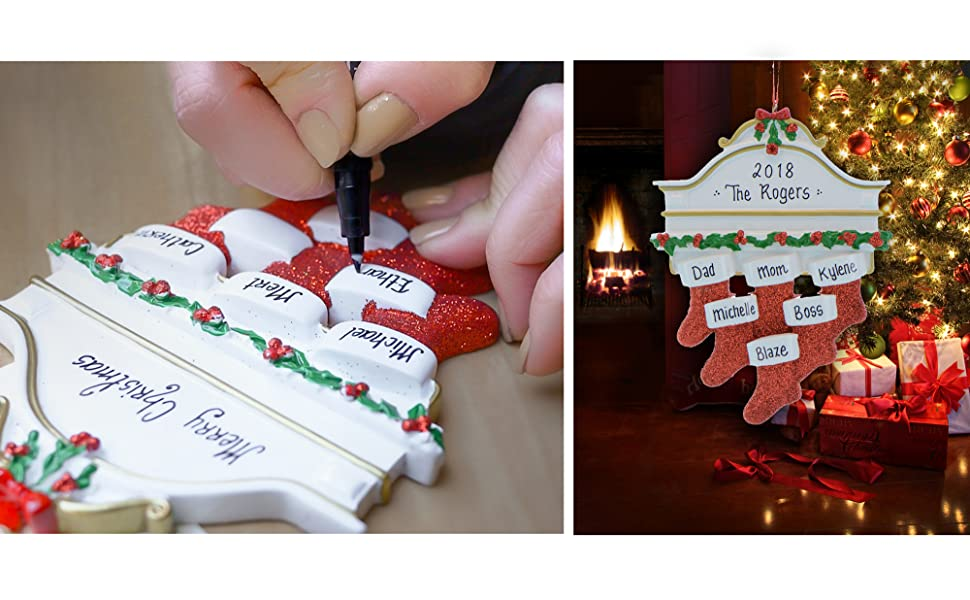Personalized Christmas Ornament writing, Ornaments by Elves