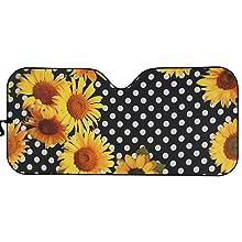 Sunflower Polka Dots  Car Sun Shade for Window Front