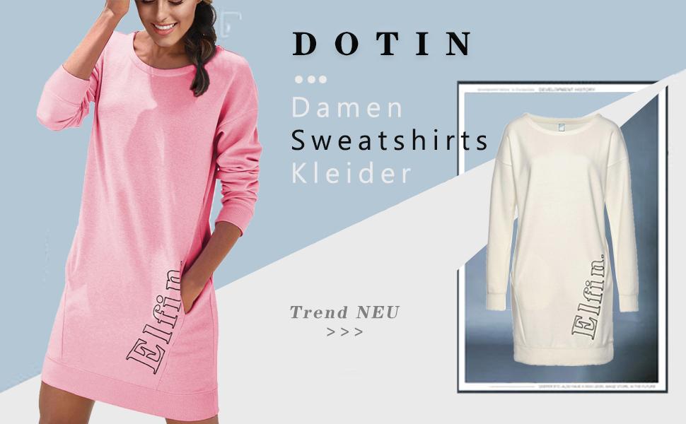 DOTIN Damen Sweatkleid L/ässiges Sweatshirt Langarm Hoodie Kleider Casual Herbst Jumper Pullover Lange Tops