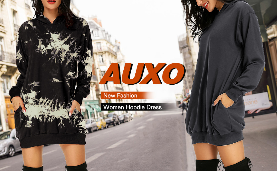 Womens Long Sleeve Hooded Travel Time Loose Casual Pullover Hoodie Dress Tunic Sweatshirt Dress with Pockets