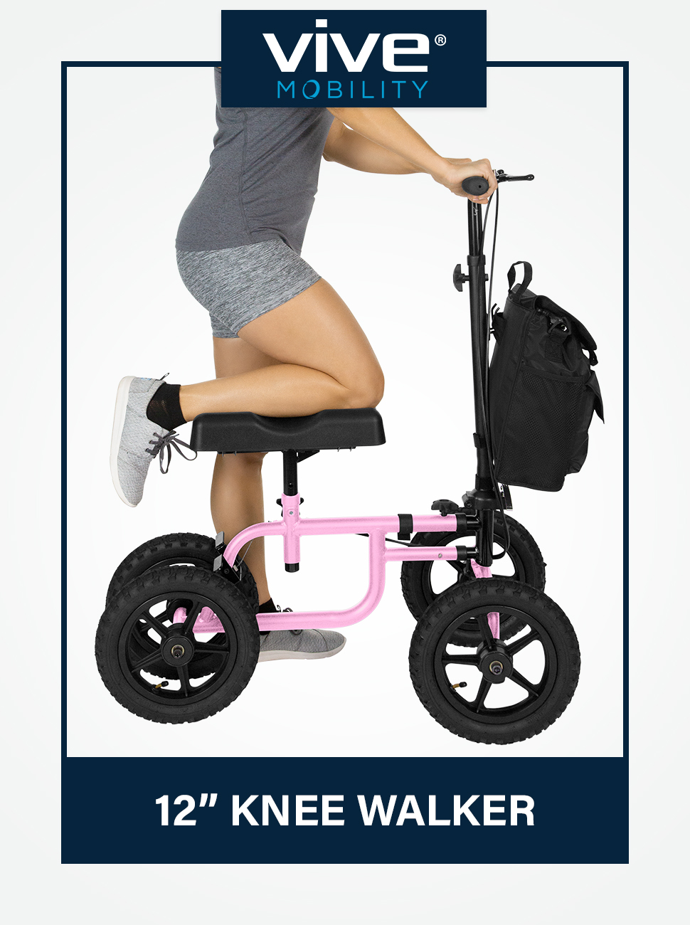 Vive Mobility Knee Walker Stearable Scooter Broken Leg, Foot, Ankle Injuries - Kneeling Quad Roller