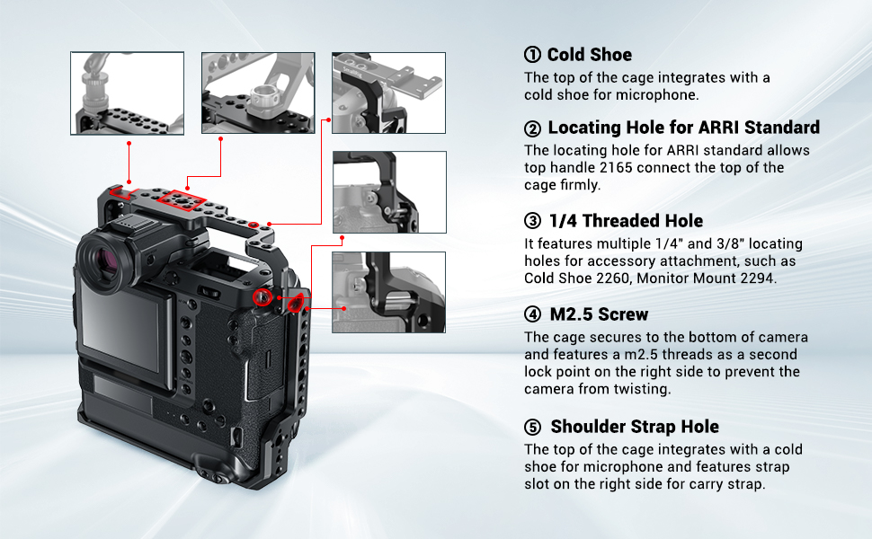 SmallRig CCF237 Cage for Fujifilm GFX 100 Camera with Cold Shoe /& Strap Slots