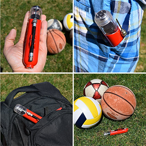 very compact small size and portable ball air pump will be handy with you all the time playing