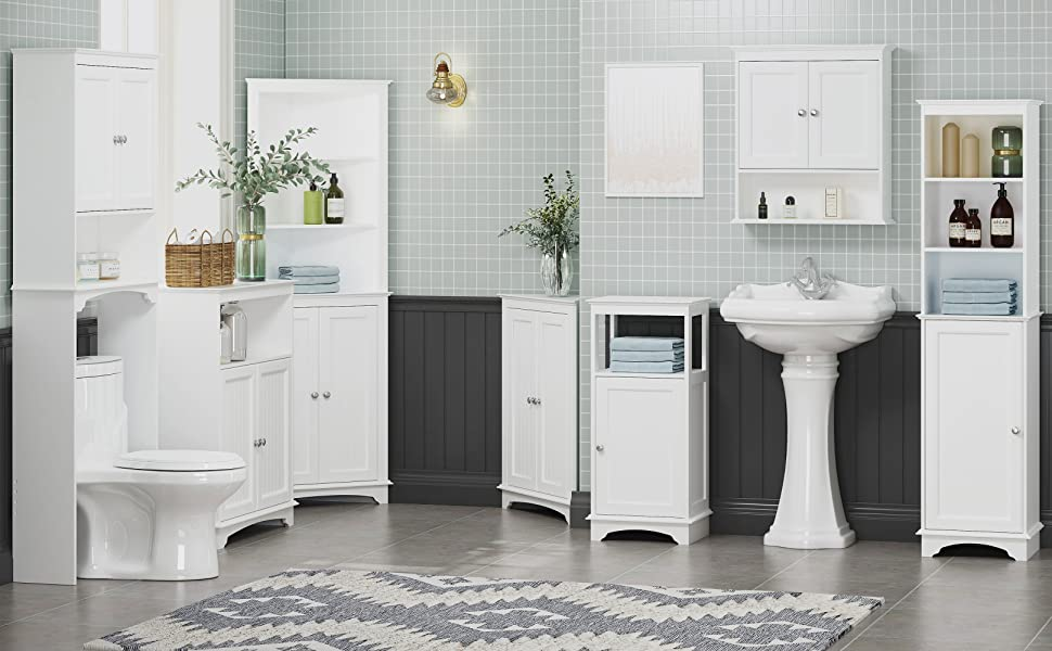 Freestanding Storage Cabinet with Three Tier Shelves, Tall Slim Cabinet, Free Standing Linen Tower