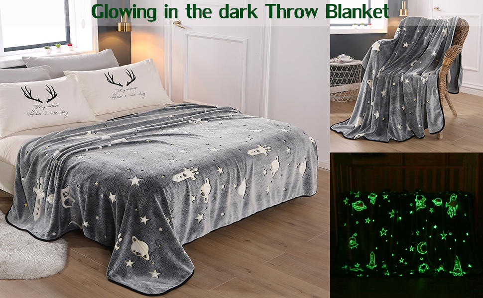Grey, 50 x 60 Glow in The Dark Throw Blanket Kids Shining Blanket Galaxy Stars Moon Pattern Flannel Fleece Blanket Super Soft Luminous Couch Sofa Bed Nap Blanket for Girls Boys Adults Bedroom